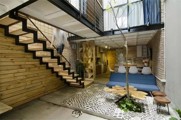 上海小别墅装修设计 90㎡还有天井!