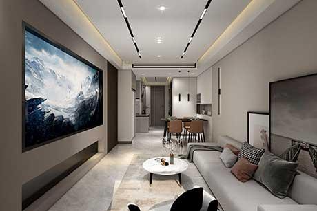 静安央玺85㎡现代简约三房二厅二卫