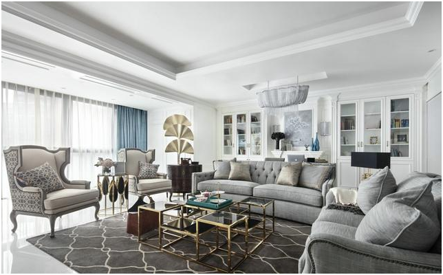 170平现代美式大平层,沙发后留1米,轻松打造书房